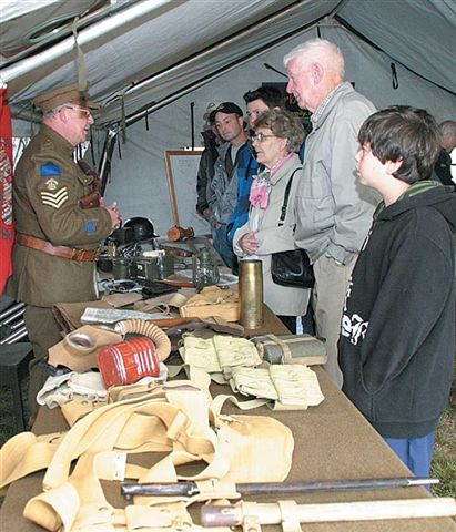 Ed James with visitors at Camp Hughes Heritage Day